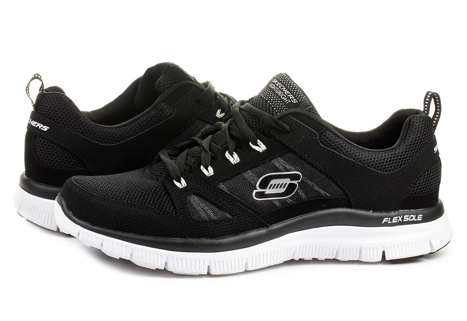 Skechers Flex Black And Silver Slip On Memory Foam Shoes