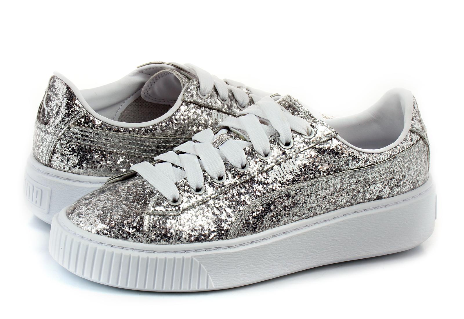 Puma Shoes - Basket Platform Glitter Wns - 36409301-slv - Online ... e8c43654f