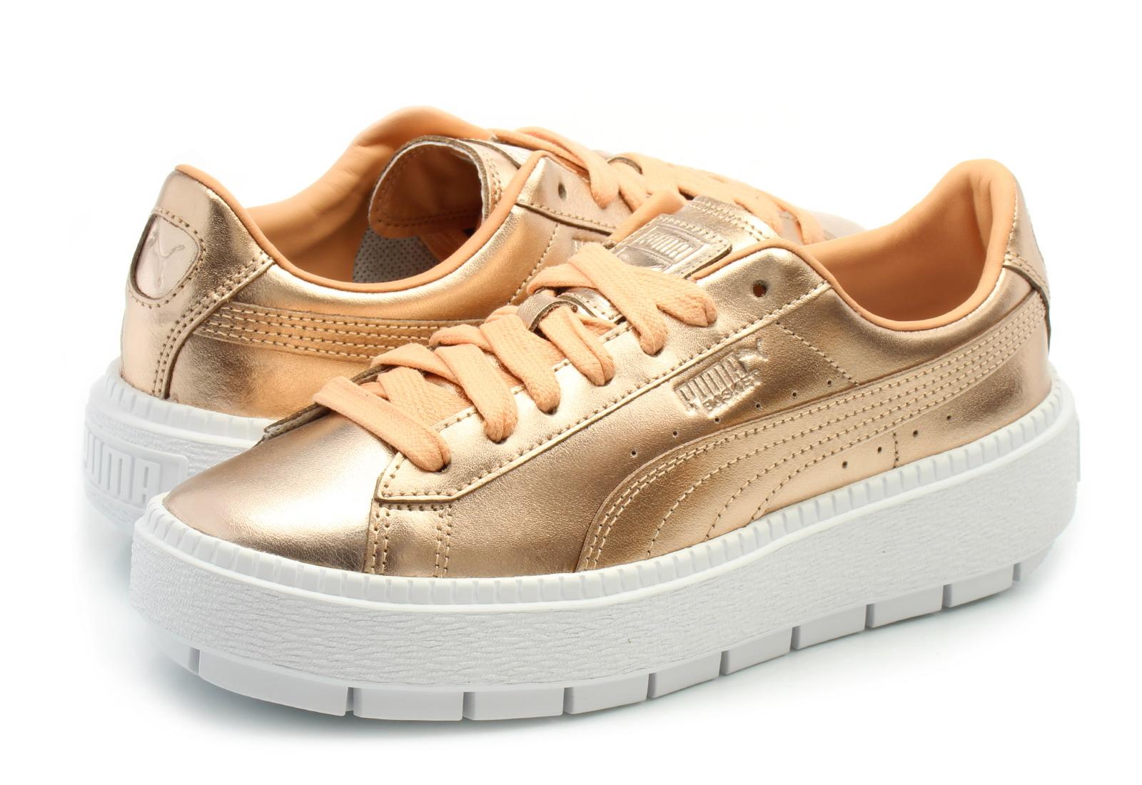 buty Store na platformie Puma Basket Platform Różowe Damskie