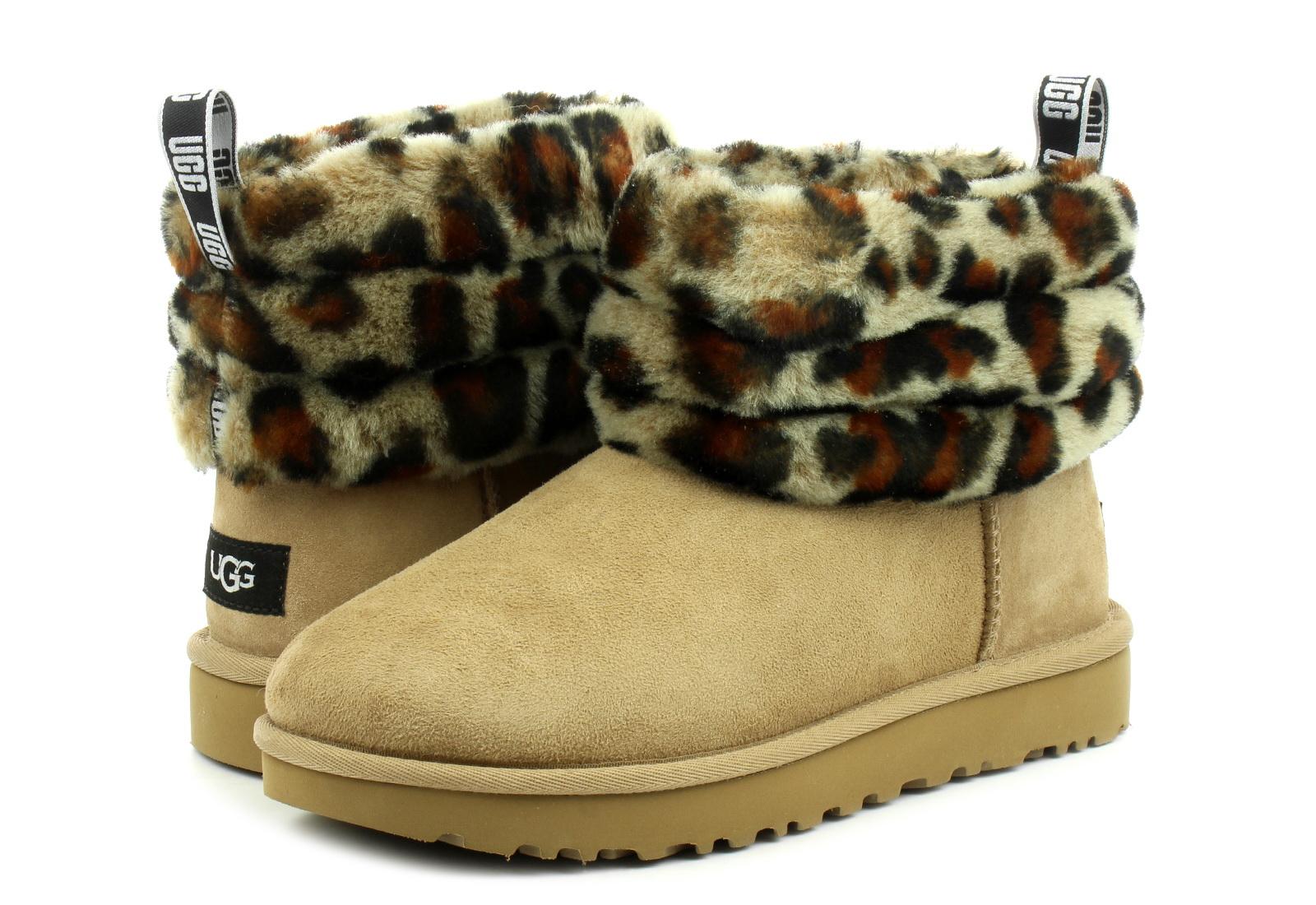 Ugg Vysoké Topánky, Čižmy Fluff Mini Quilted Leopard