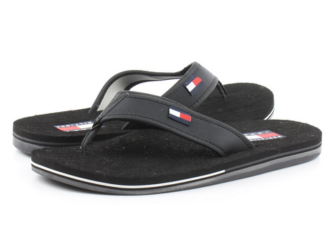 Tommy Hilfiger Pantofle Hilfiger Corporate Sandal Black