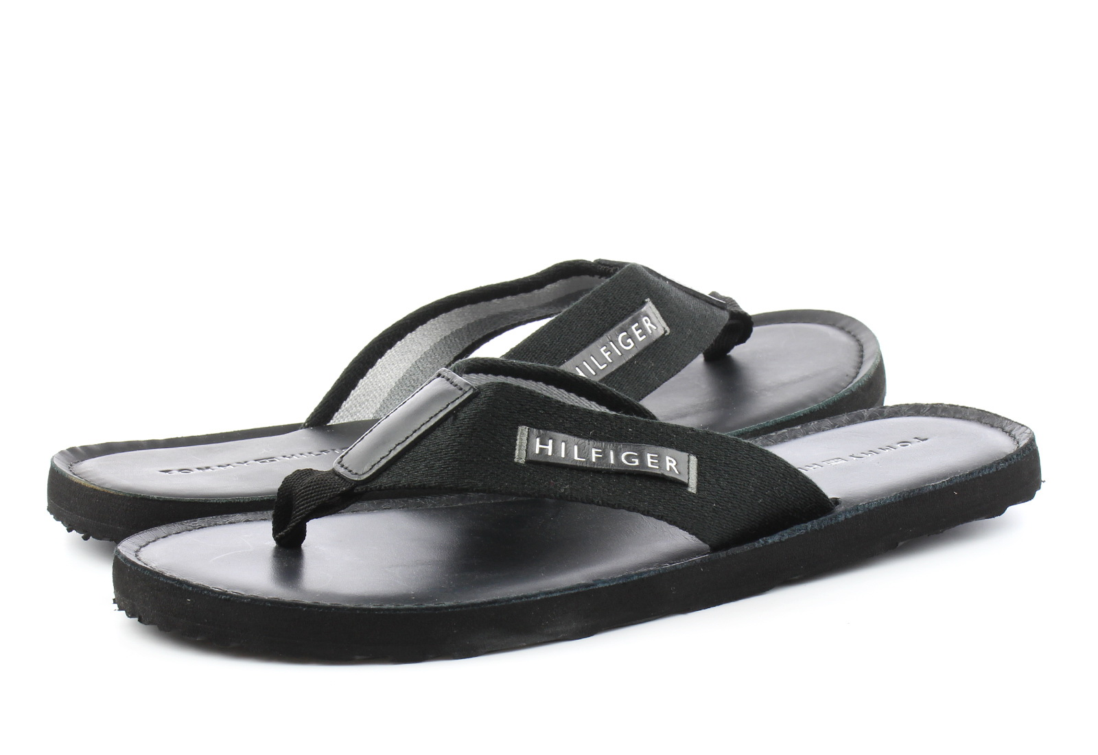 Tommy Hilfiger Papucs Elevated Leather Beach Sandal Black